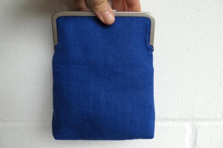 Blue metal frame purse